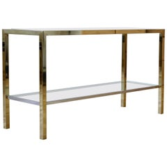 Brass & Chrome Bi-color Two-Tiered Double Shelved Console Table by Maison Jansen