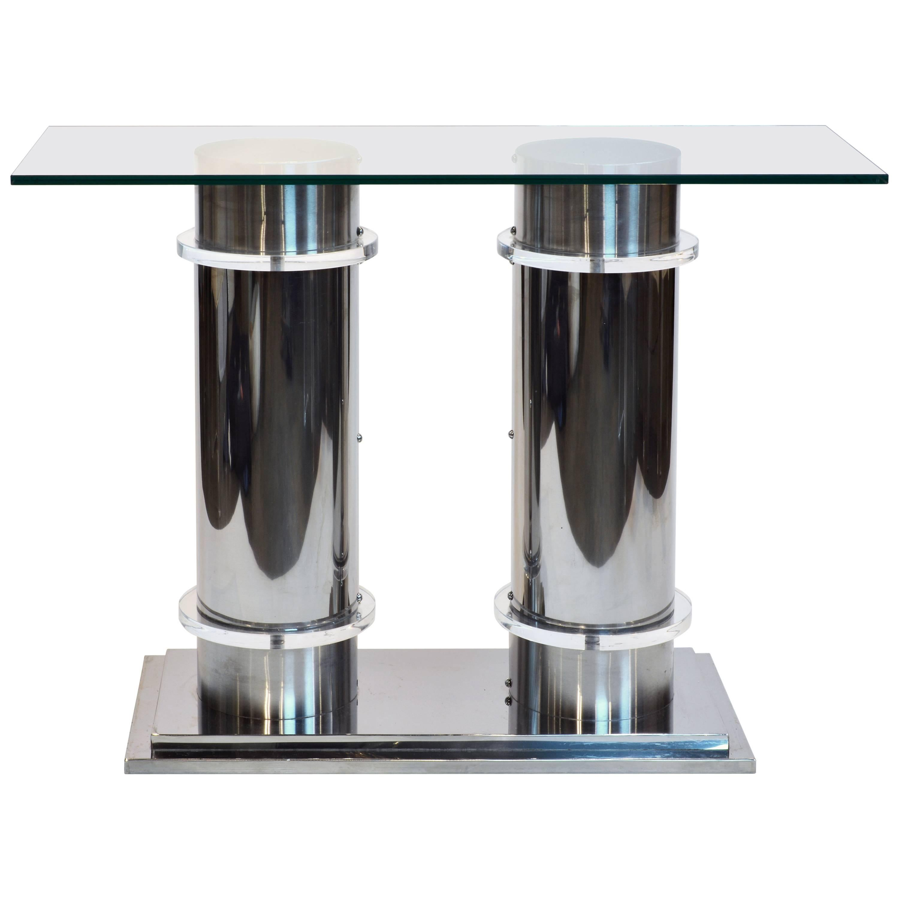 Modern Design Twin Column Chrome, Aluminium And Lucite Glass Top Console  Table For Sale