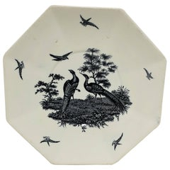 Octagonal English Black and White Peacock Bird Plate by Wedgwood England