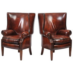 Pair of English Barrel Back Leather Armchairs