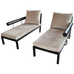 Paar Chaiselongues aus Leder und Mohair von Antonio Citterio für B&B Italia, separat erhältlich