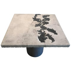 "Rare Silas Seandel Concrete and Bronze ""Terra"" Breakfast/ Card Table"