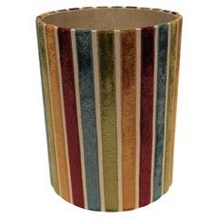 Vintage Velvet Striped Wastebasket or Trash Can