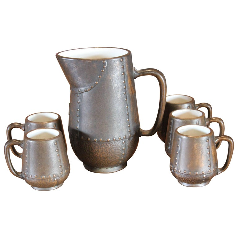 Pitcher and Five Cup Set by Clewell Pottery For Sale