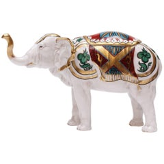 Beautiful Hand-Painted Rudolstadt Porcelain Elephant Humidor with Lid