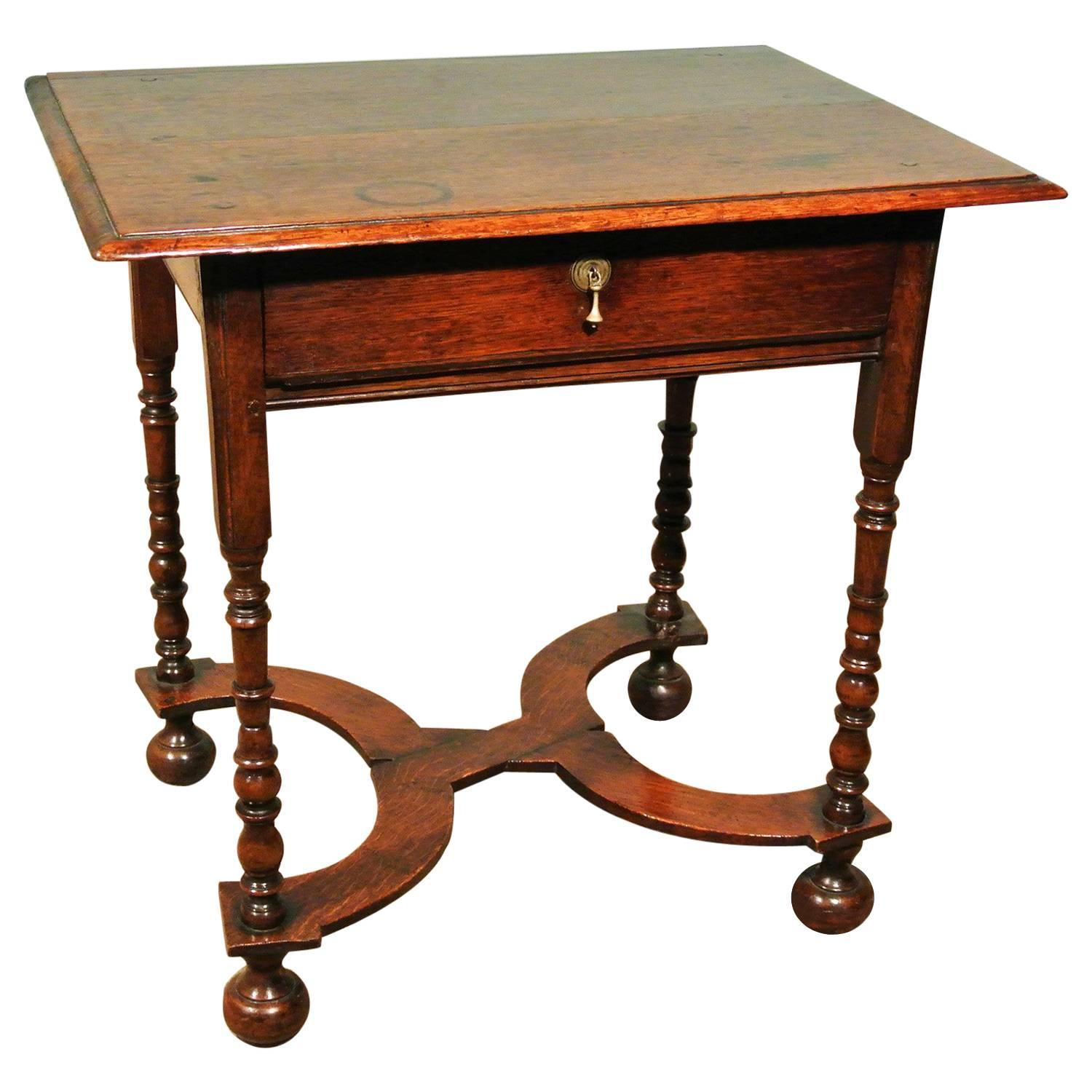 Small Queen Anne Oak Lowboy, Circa 1710