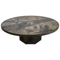 "Philip and Kelvin Laverne Large Bronze and Enameled ""Chan"" Table, USA"