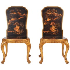 Pair of 18th Century Style Chinoiserie Hall Chairs