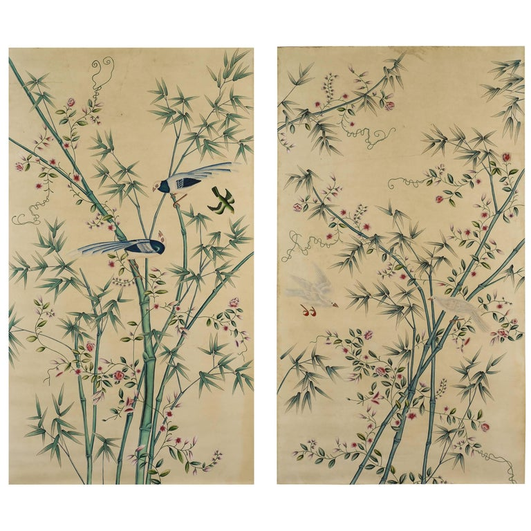 Pair of Hand-Painted Chinoiserie Paintings of Wall Paper Panels, Watercolor