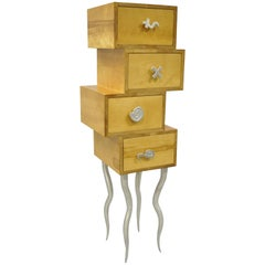 Trout Studios Grisette Cabinet Birch Wood Aluminum Chest of Drawers Post Modern