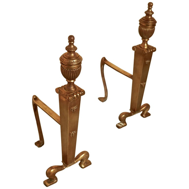 Elegant Pair of 19th Century Brass Andirons or Fire Dogs For Sale