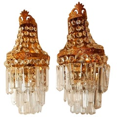 French Crystal Prisms Empire Sconces, circa 1930