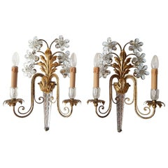 Huge Maison Bagues Style Crystal Flower Sconces, circa 1940