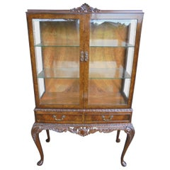 Quality Antique Burr Walnut Glazed Display Cabinet Vitrene