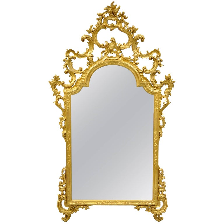 Labarge Gold Carved Giltwood French Louis XV Rococo Style Large Console Mirror