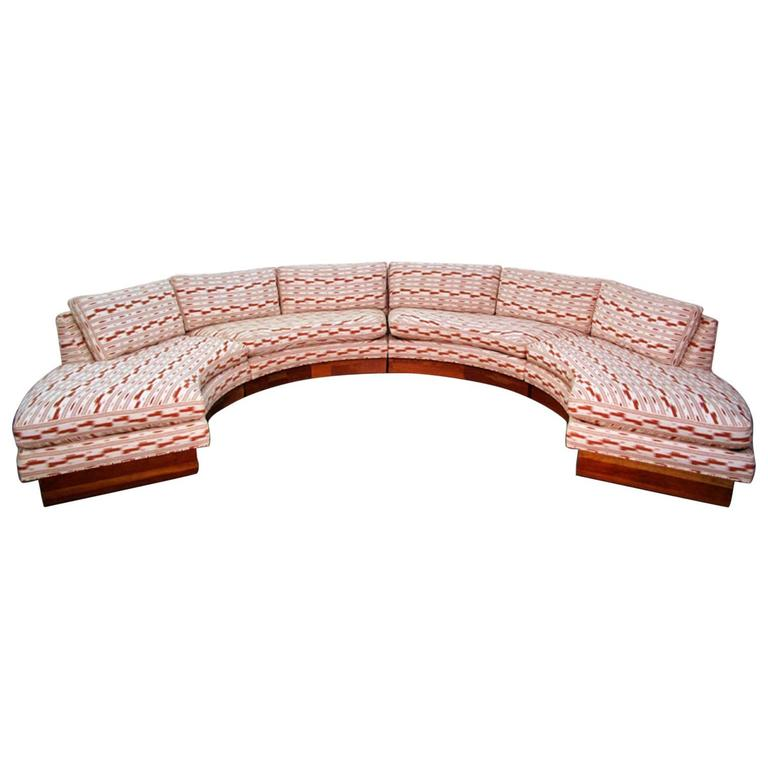 Circular Curved Mid-Century Modern Section Sofa by Erwin Lambeth for John Stuart For Sale
