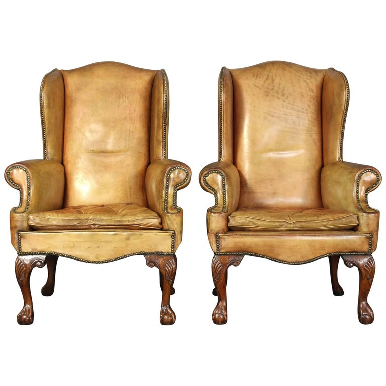 Pair of Vintage Leather Wing Chairs 1