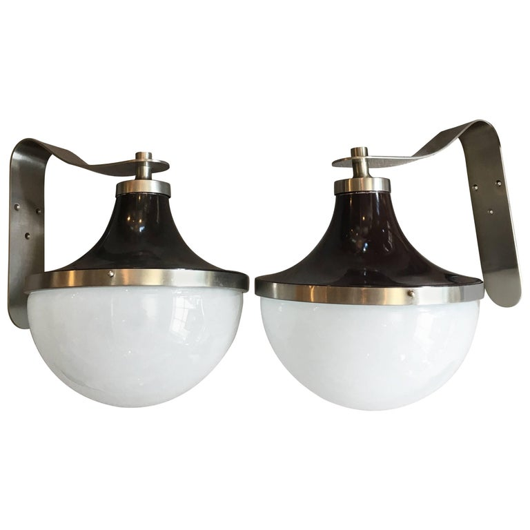 Pair of Enameled Metal and Glass Pendants or Sconces by Sergio Mazza, Artemide 1