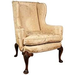 19th Century Walnut Wing Armchair