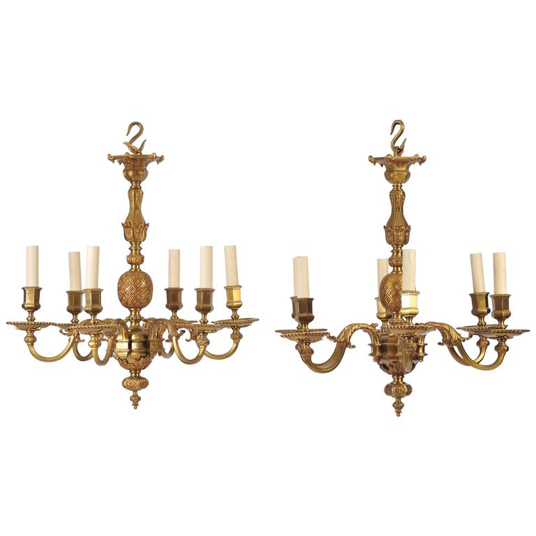 Pair of Early 20th Century Ormolu Chandeliers For Sale