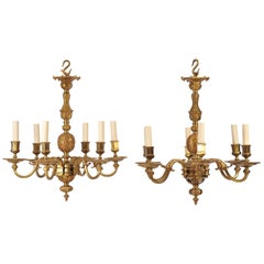 Pair of Early 20th Century Ormolu Chandeliers