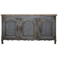 French Mid-19th Century Louis XV Painted Three-Door Enfilade Dresser, circa 1750