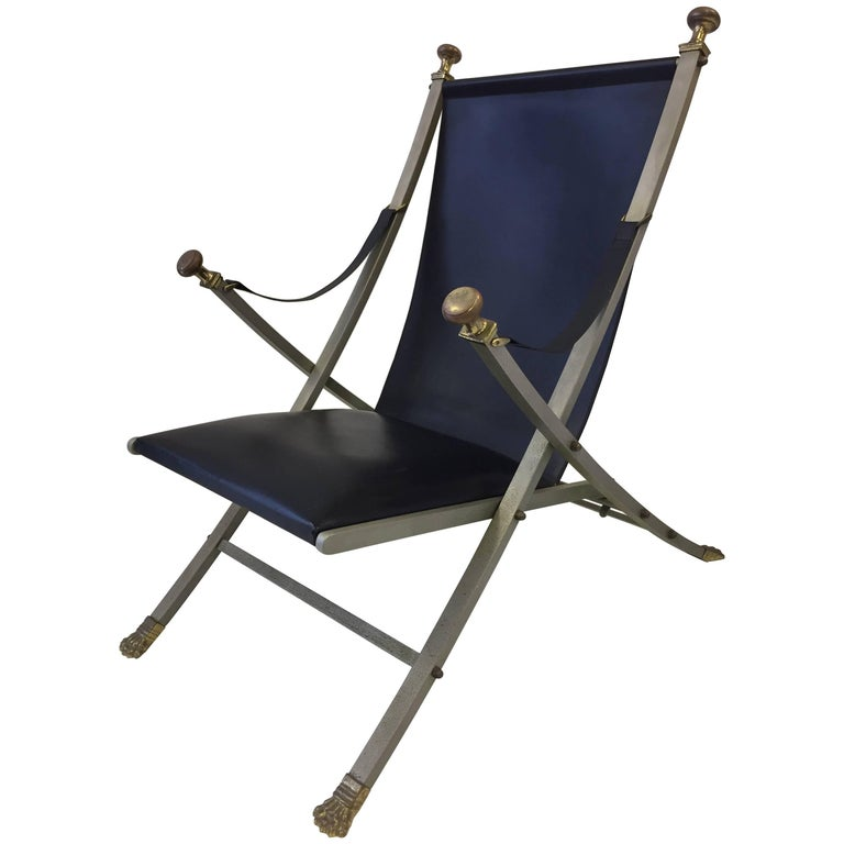 Style of Maison Jansen Steel, Bronze and Leather Campaign Chair