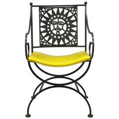 Arthur Umanoff Mayan Sun Wrought Iron Sunburst Directors Armchair Curule Yellow
