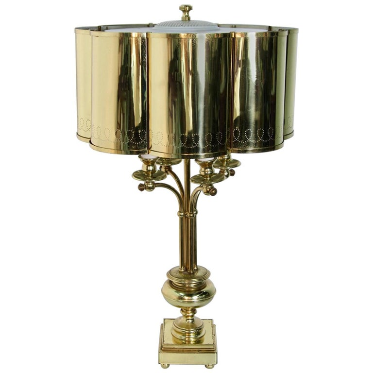 Hollywood Regency Brass Table Lamp in the Manner of Paavo Tynell For Sale