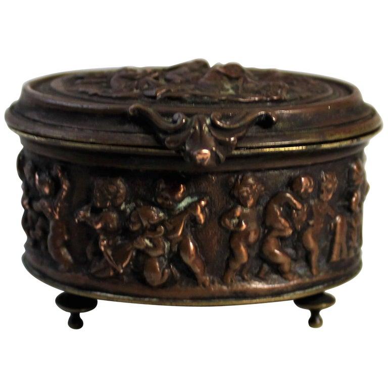 19th Century Bronze Decorative Box with Putti