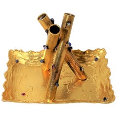 14-Karat Gold Pen Holder and Tray with Diamonds, Rubies and Sapphires