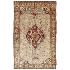 Floral Midcentury Vintage Turkish Oushak Rug in Red, Gold, Gray and Brown