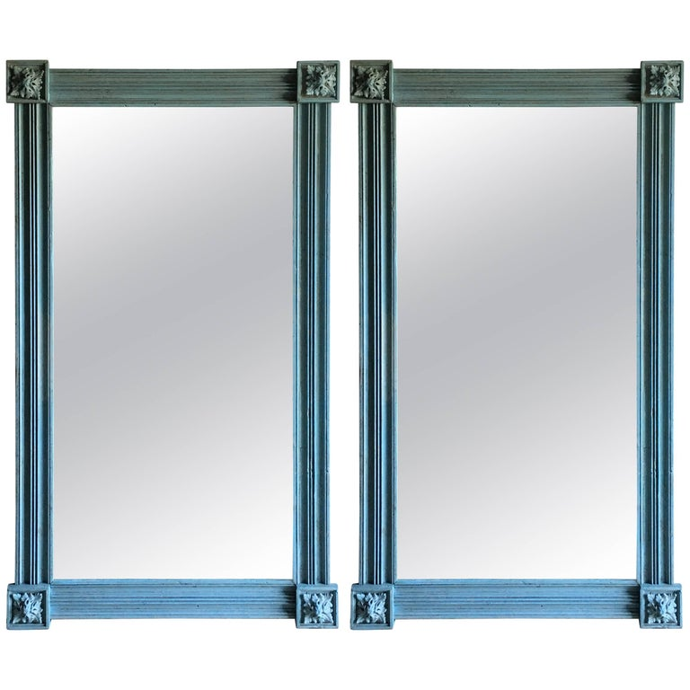 Pair of American Pier Mirrors in Blue 1