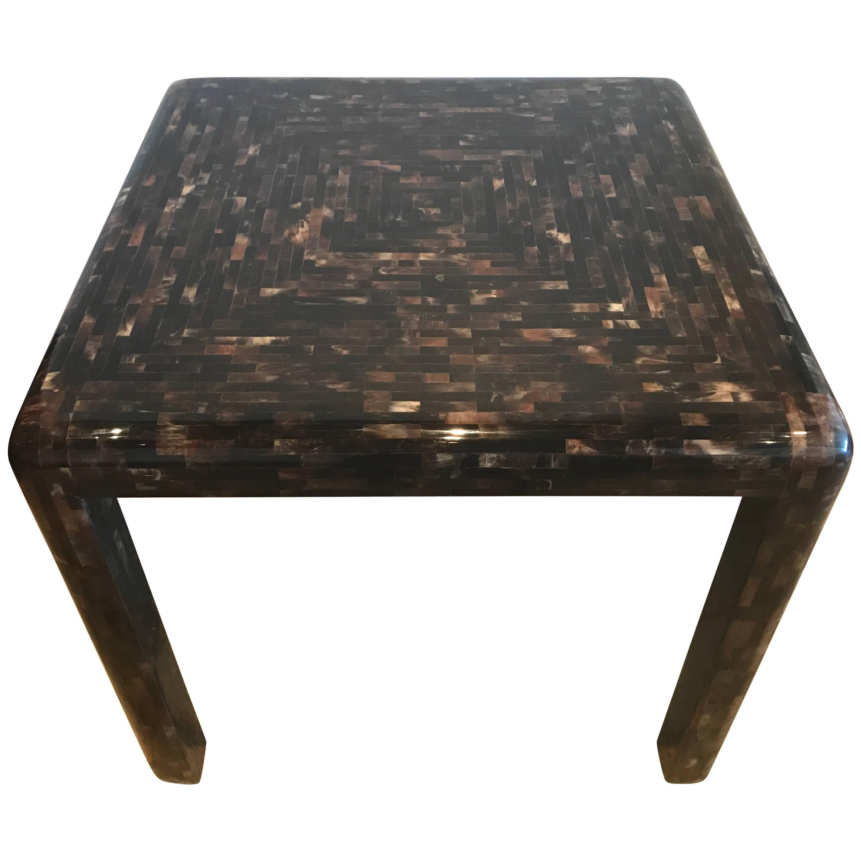 Karl Springer Style, Horn Inlaid Game Table