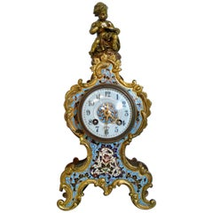 19th Century Museum Champlere Enameled Cherub Clock