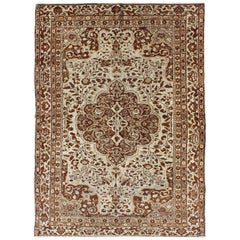Mid-Century Finely Detailed Turkish Sivas Rug with Central Medallion in Brown