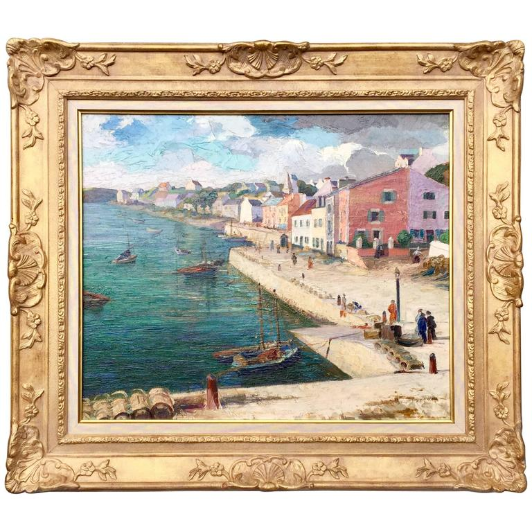 Post-Impressionist French Painting of a Port City For Sale