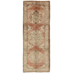 Vintage Turkish Oushak Gallery Rug with Red Ground and Three Taupe Medallions