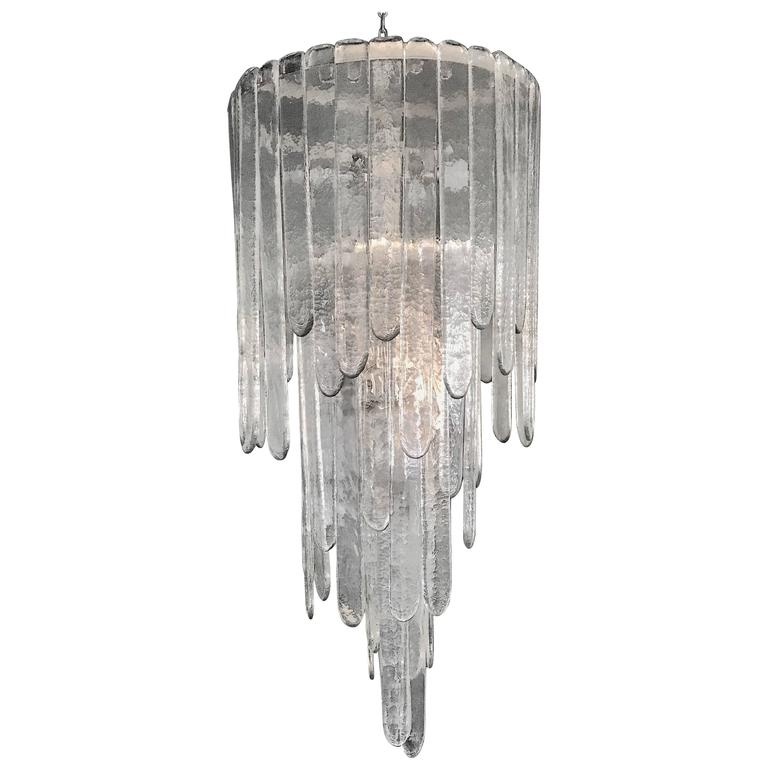 "Large ""Cascade"" Mazzega Chandelier by Carlo Nason in Clear Murano Glass For Sale"