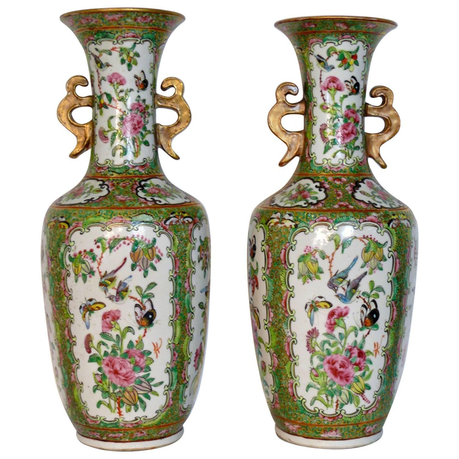 Pair of chinese rose canton porcelain vases circa 1900 for sale antique chinese porcelain canton rose medallion vases floridaeventfo Choice Image