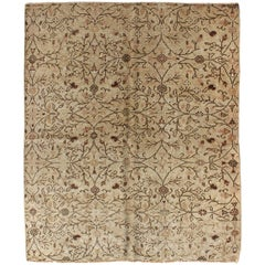 Vintage All-Over Floral Design Turkish Oushak Rug with Free-Flowing Pattern
