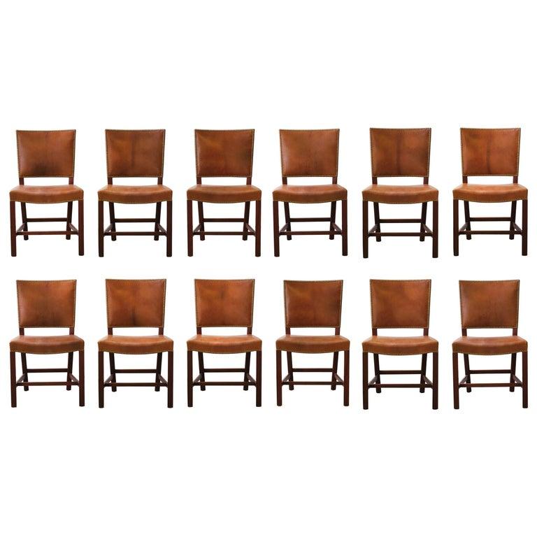 Kaare Klint Set of 12 'Red Chairs' Model KK39490, Nigerian Goatskin Upholstery For Sale