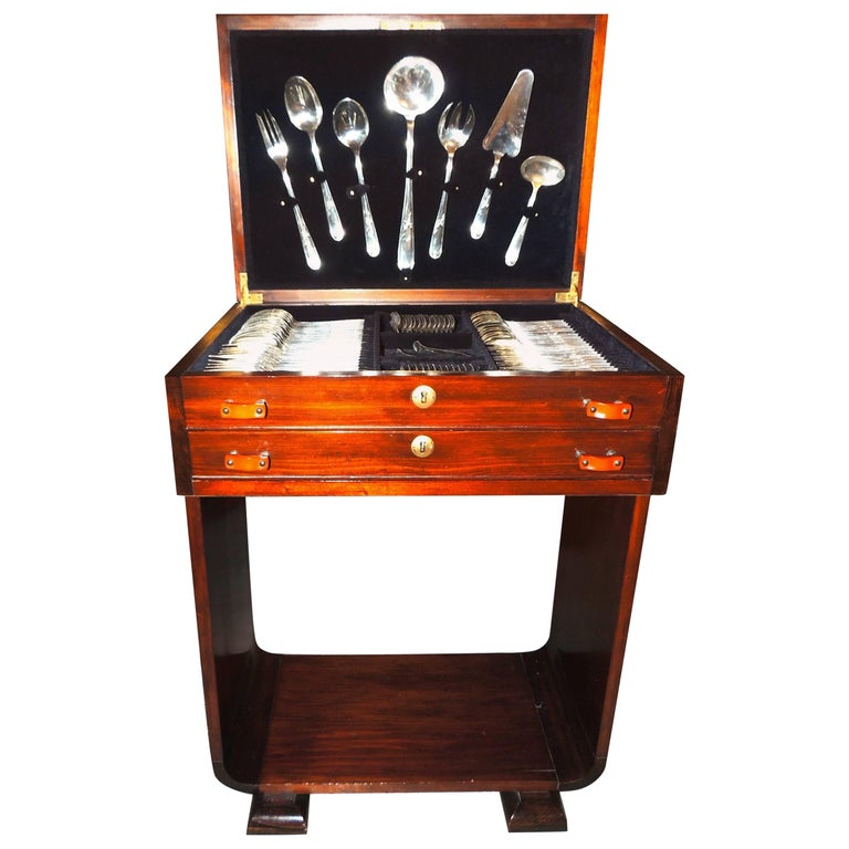 Complete Christofle Silverware Set in Wooden Storage Table For Sale