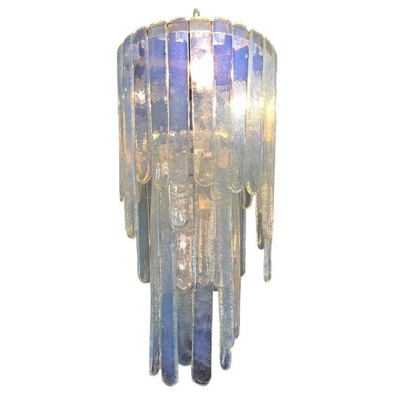 "Mcm ""Cascade"" Mazzega Chandelier by Carlo Nason in Opalescent Murano Glass"