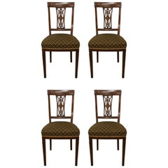 Four Antique English Inlaid Side Chairs