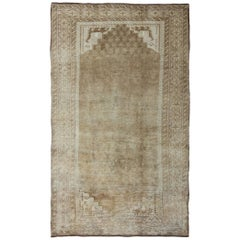 Midcentury Vintage Turkish Rug with Medallion in Taupe, Cream, Gray and Brown