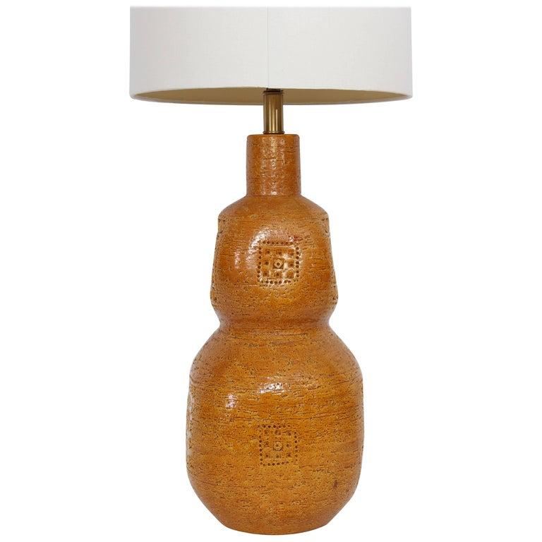 Monumental Aldo Londi for Bitossi Incised Mustard Ceramic Table Lamp, 1950s