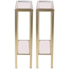 Pair of brass pedestal tables by Guy Lefevre for Maison Jansen, circa 1970
