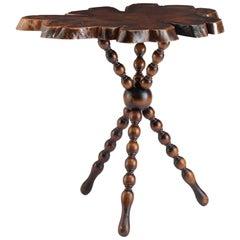 Slab Top and Bobbin Base Side Table