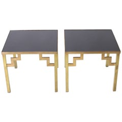 Pair of Brass Side Tables with Opaline Glass Tops, circa 1970